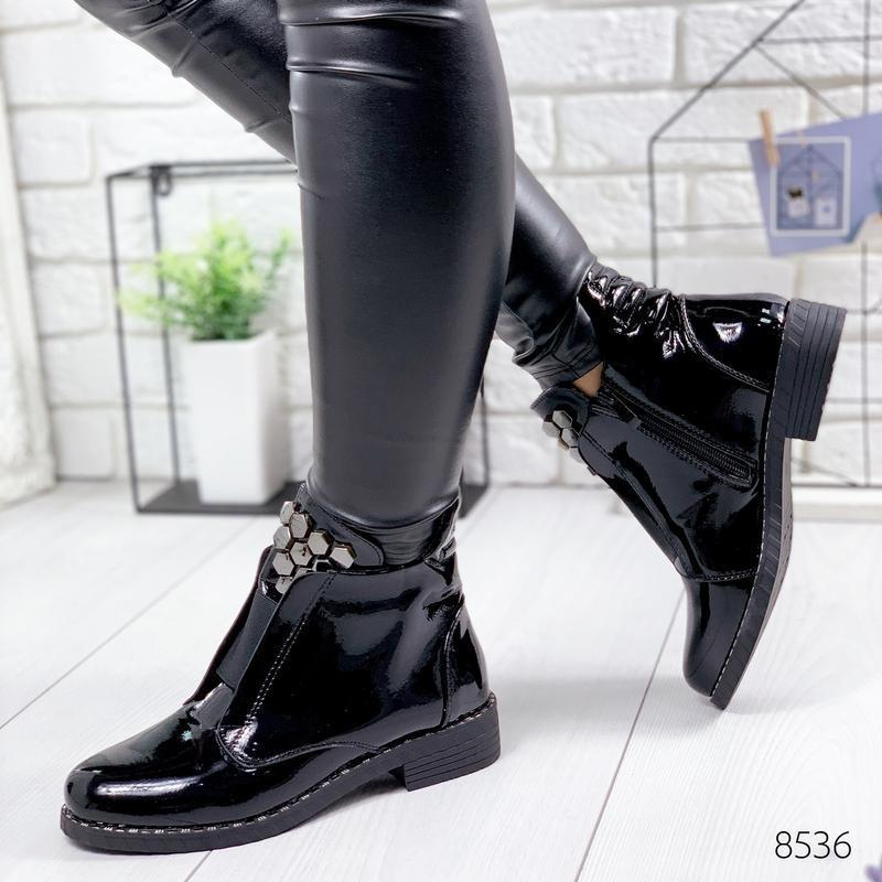❤невероятные женские черные демисезонные осенние ботинки ботил... - Фото 3
