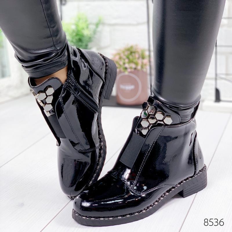 ❤невероятные женские черные демисезонные осенние ботинки ботил... - Фото 4