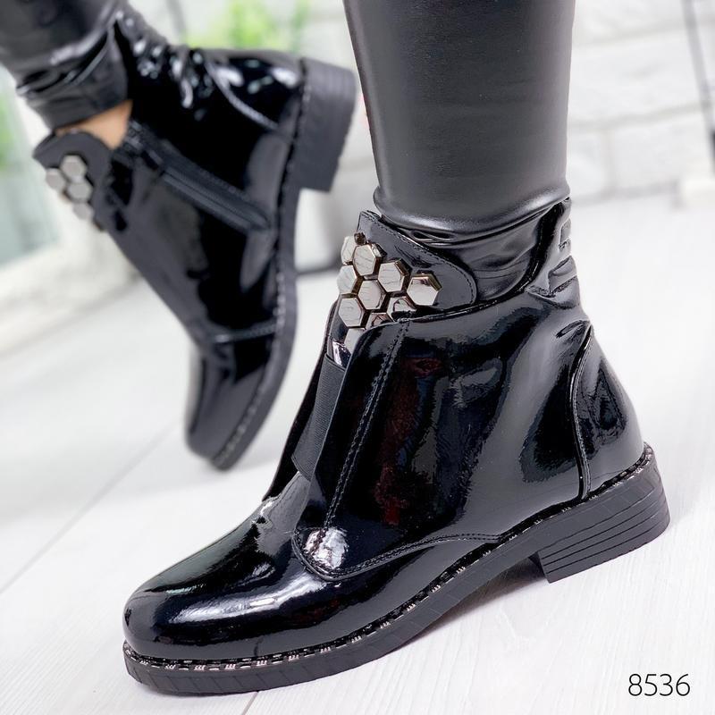 ❤невероятные женские черные демисезонные осенние ботинки ботил... - Фото 5