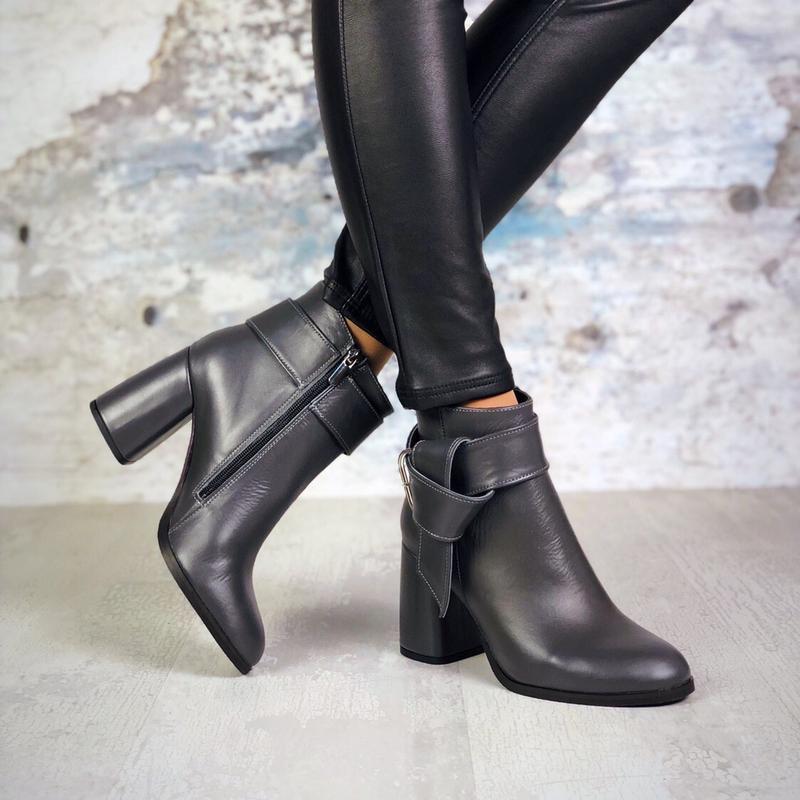 ❤невероятные женские серые кожаные демисезонные осенние ботинк... - Фото 3