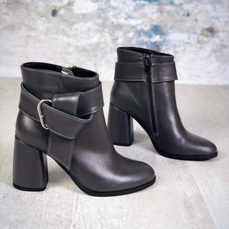 ❤невероятные женские серые кожаные демисезонные осенние ботинк... - Фото 4