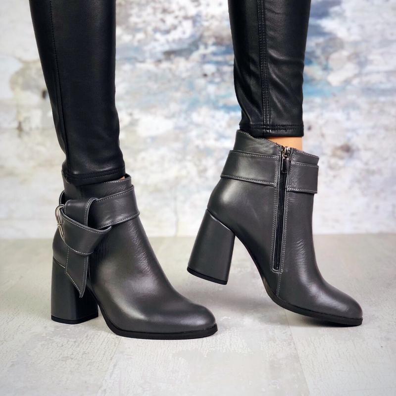 ❤невероятные женские серые кожаные демисезонные осенние ботинк... - Фото 5