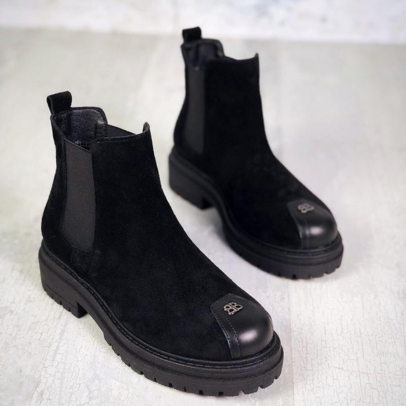 ❤невероятные женские черные замшевые демисезонные осенние боти... - Фото 2