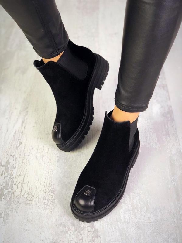 ❤невероятные женские черные замшевые демисезонные осенние боти... - Фото 3