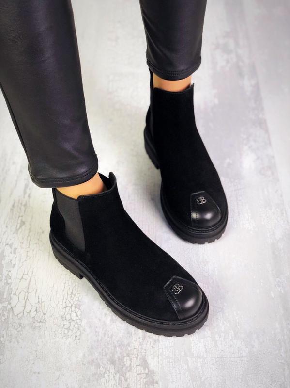 ❤невероятные женские черные замшевые демисезонные осенние боти... - Фото 4