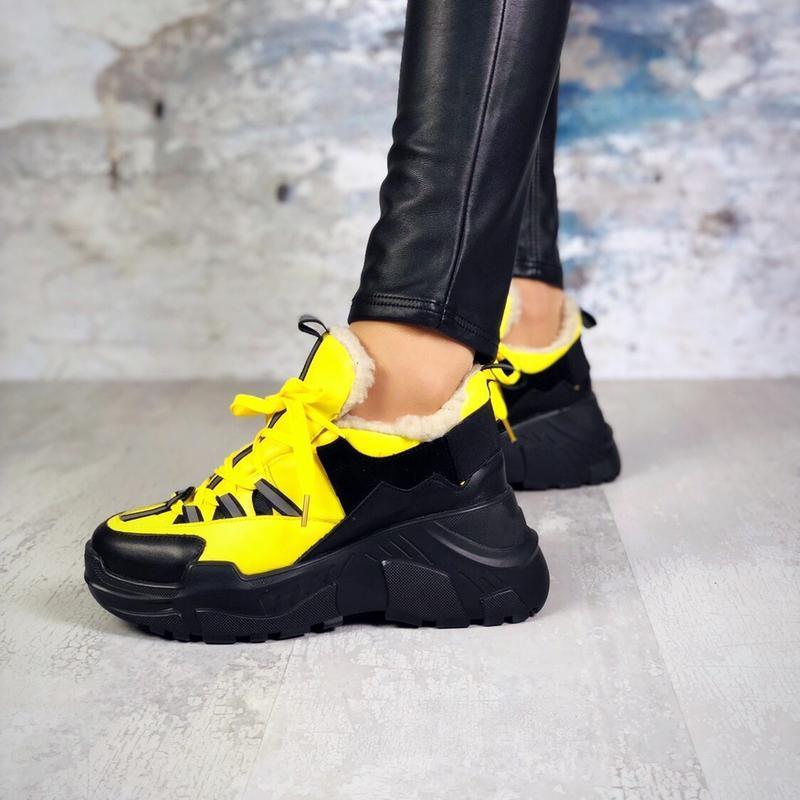 ❤невероятные женские желтые зимние кроссовки ботинки ботильоны... - Фото 2