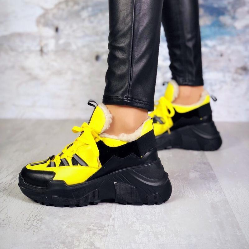 ❤невероятные женские желтые зимние кроссовки ботинки ботильоны... - Фото 3