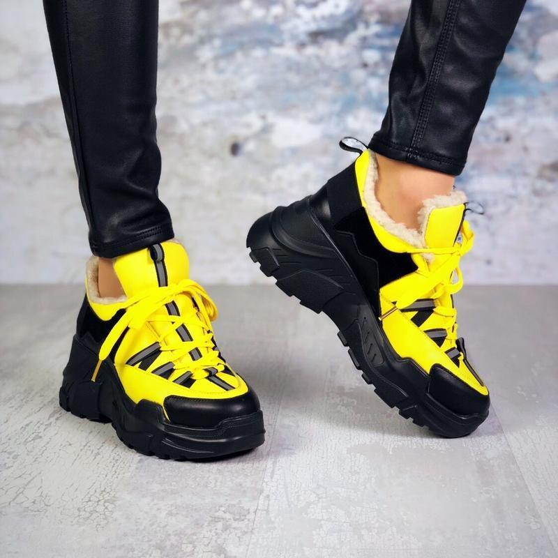 ❤невероятные женские желтые зимние кроссовки ботинки ботильоны... - Фото 4