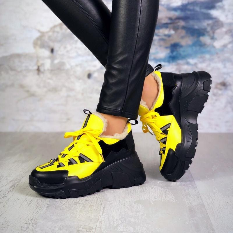 ❤невероятные женские желтые зимние кроссовки ботинки ботильоны... - Фото 5