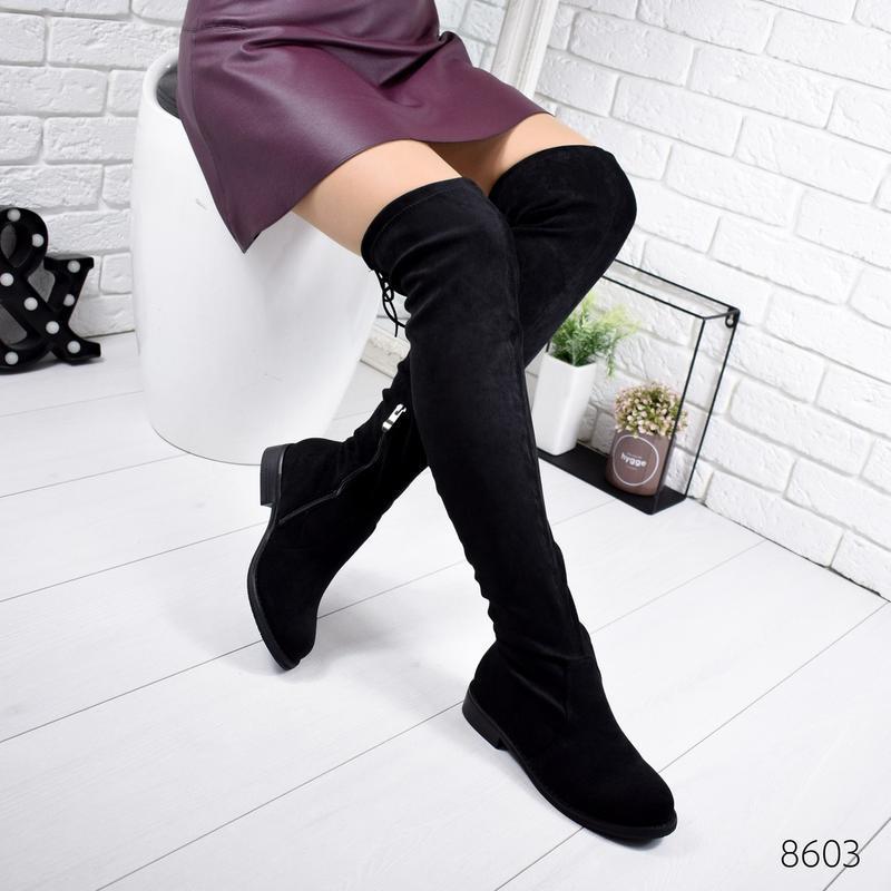❤ женские черные демисезонные осенние сапоги ботфорты сапожки ❤ - Фото 2