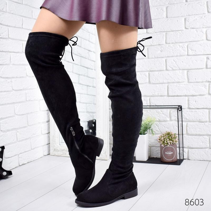 ❤ женские черные демисезонные осенние сапоги ботфорты сапожки ❤ - Фото 3