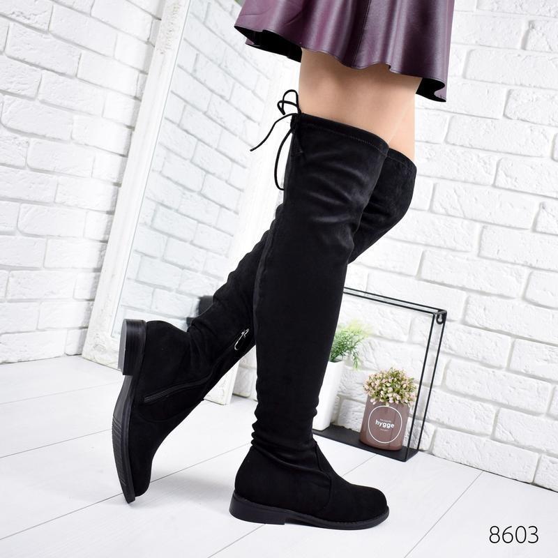 ❤ женские черные демисезонные осенние сапоги ботфорты сапожки ❤ - Фото 4
