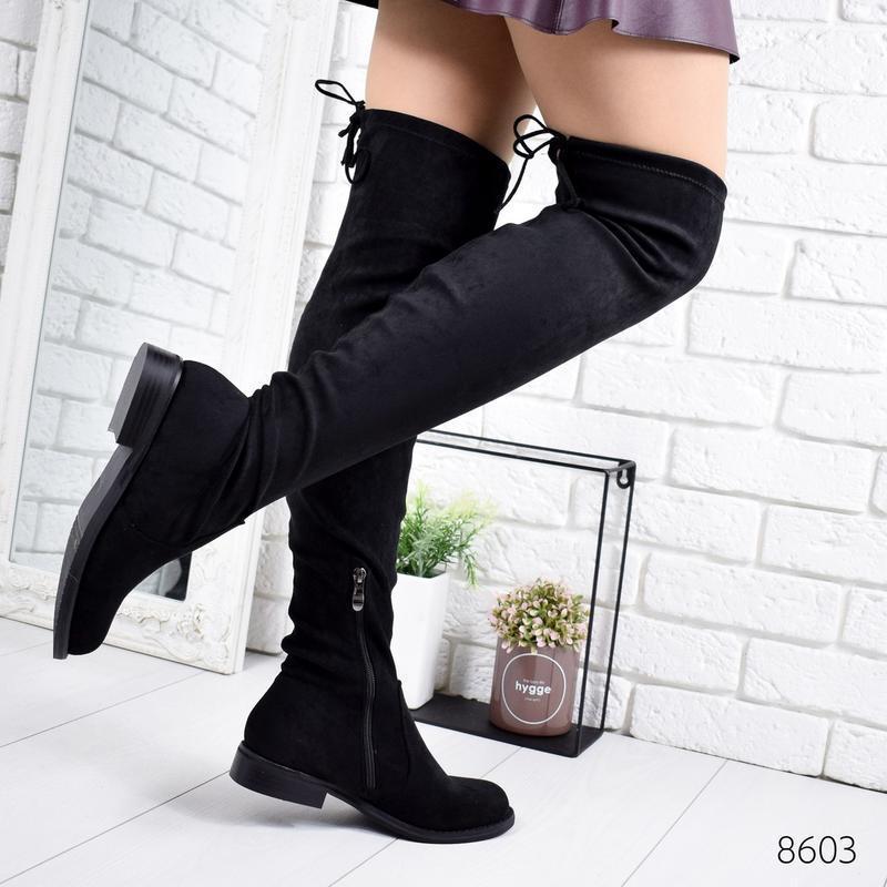 ❤ женские черные демисезонные осенние сапоги ботфорты сапожки ❤ - Фото 5