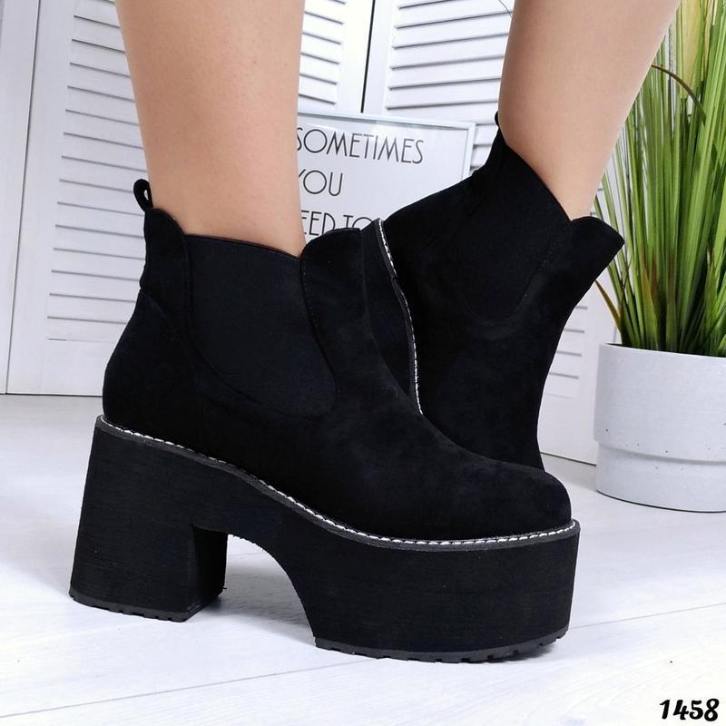 ❤невероятные женские черные демисезонные осенние ботинки сапог...