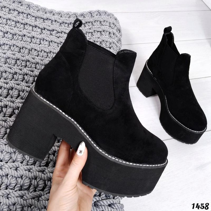 ❤невероятные женские черные демисезонные осенние ботинки сапог... - Фото 5