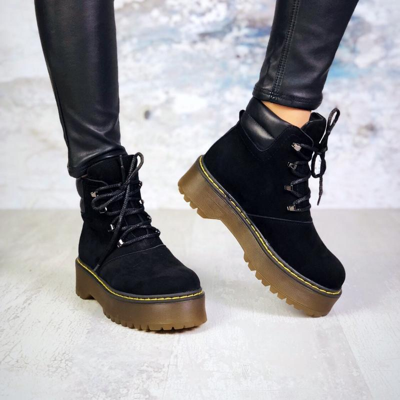 ❤женские черные демисезонные осенние замшевые ботинки сапоги н...