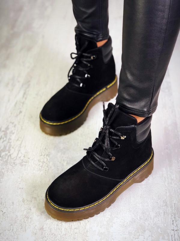 ❤женские черные демисезонные осенние замшевые ботинки сапоги н... - Фото 2