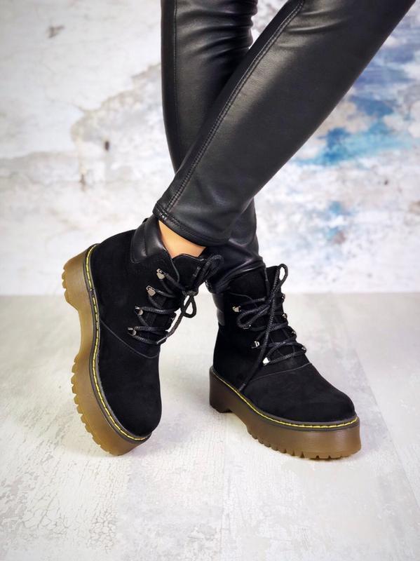 ❤женские черные демисезонные осенние замшевые ботинки сапоги н... - Фото 4