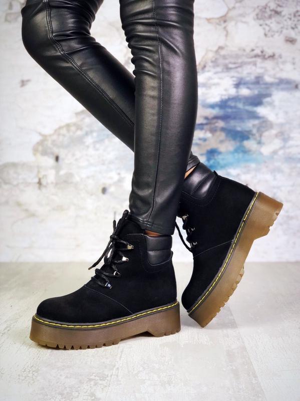 ❤женские черные демисезонные осенние замшевые ботинки сапоги н... - Фото 5