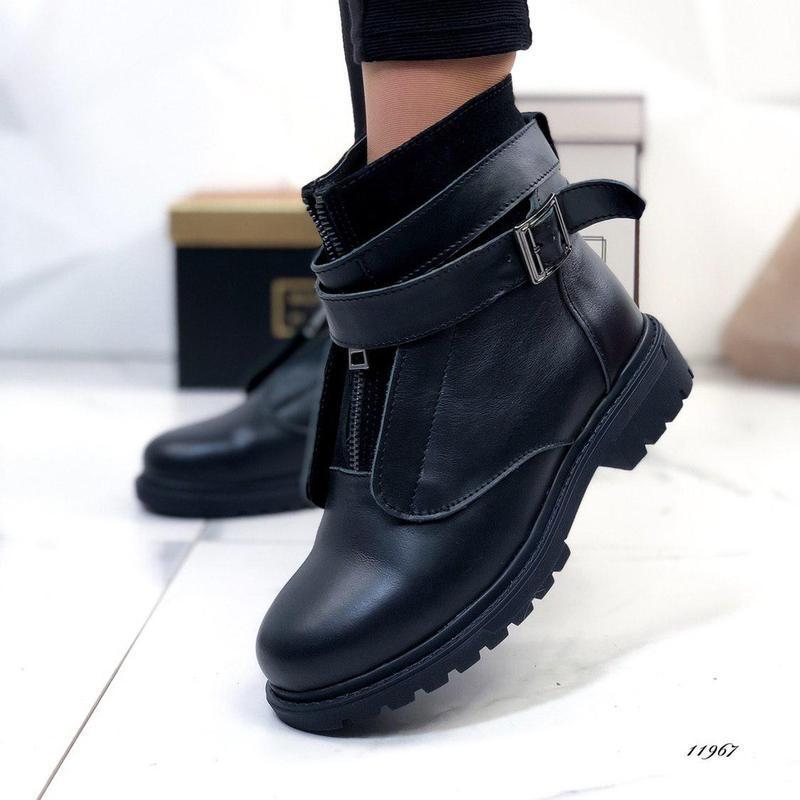 ❤невероятные женские черные зимние кожаные ботинки сапоги вале...
