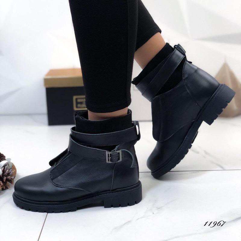 ❤невероятные женские черные зимние кожаные ботинки сапоги вале... - Фото 2