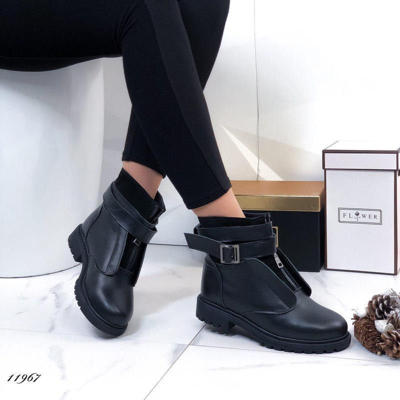 ❤невероятные женские черные зимние кожаные ботинки сапоги вале... - Фото 3