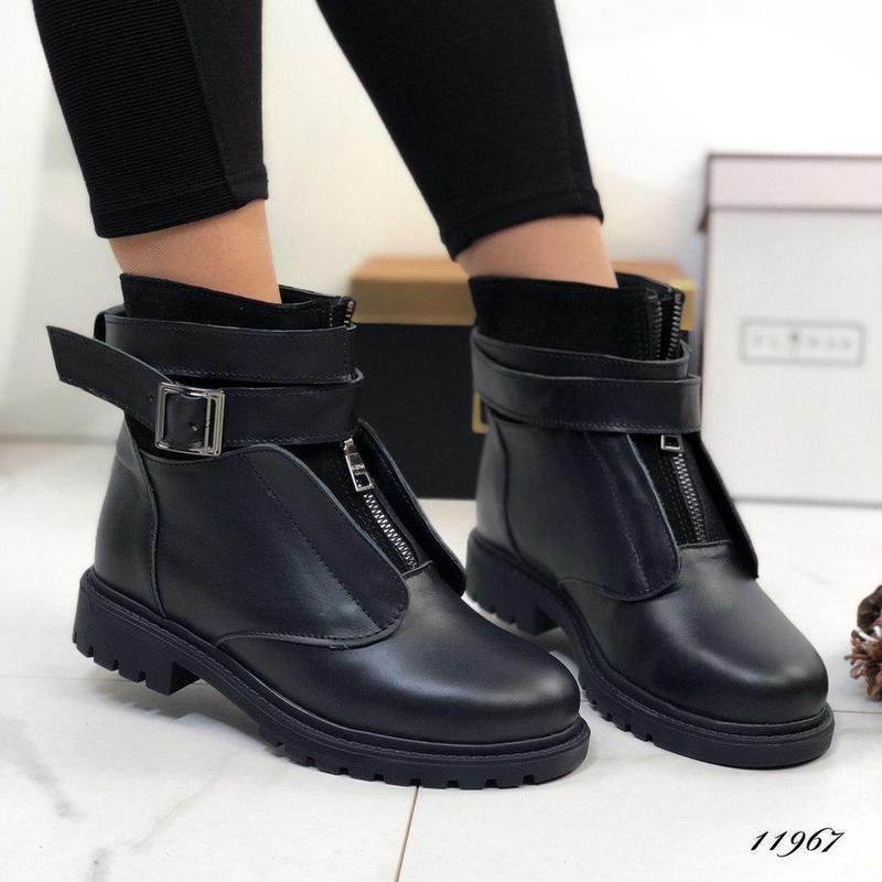 ❤невероятные женские черные зимние кожаные ботинки сапоги вале... - Фото 4