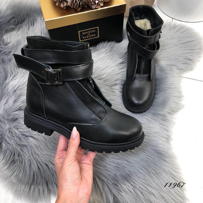 ❤невероятные женские черные зимние кожаные ботинки сапоги вале... - Фото 5