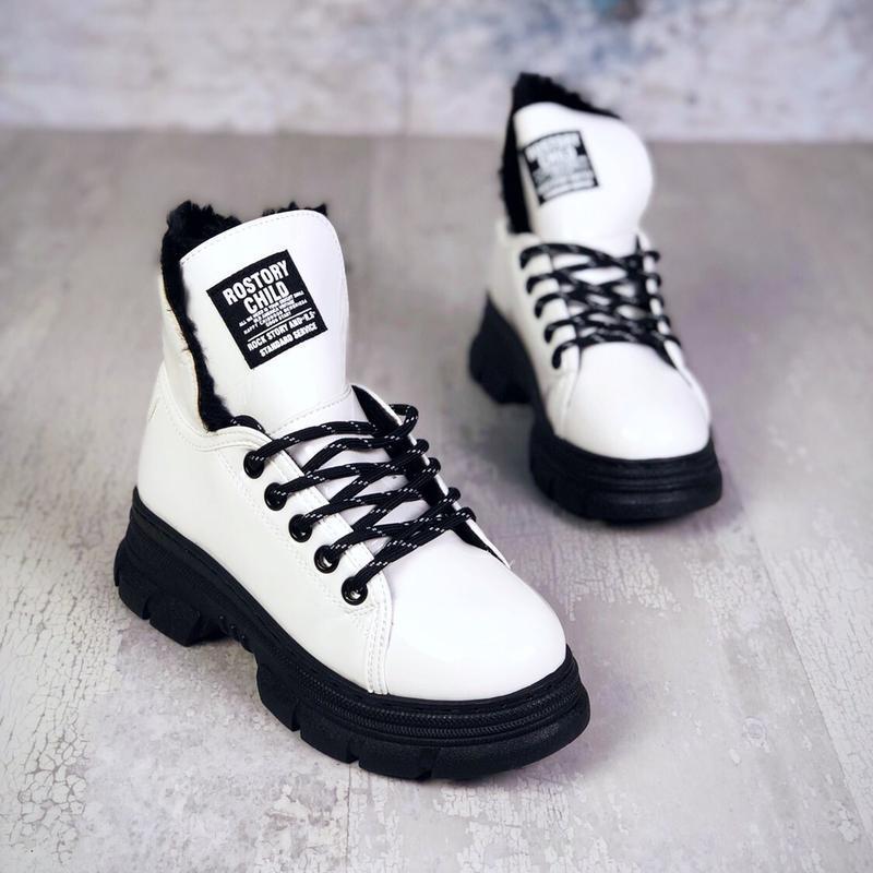 ❤ женские белые лаковые зимние ботинки сапоги сапожки  на меху ❤ - Фото 2