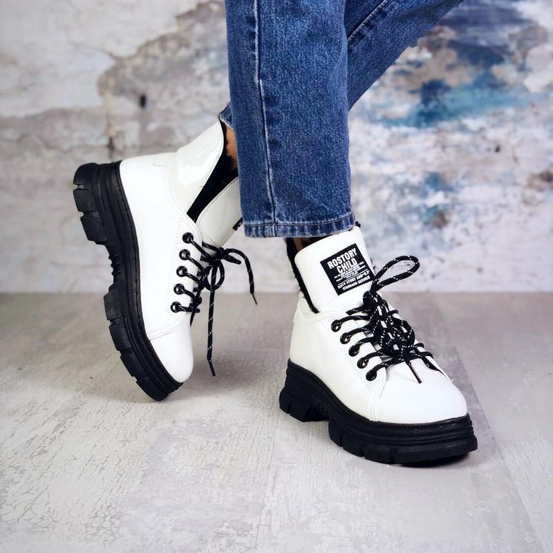 ❤ женские белые лаковые зимние ботинки сапоги сапожки  на меху ❤ - Фото 3