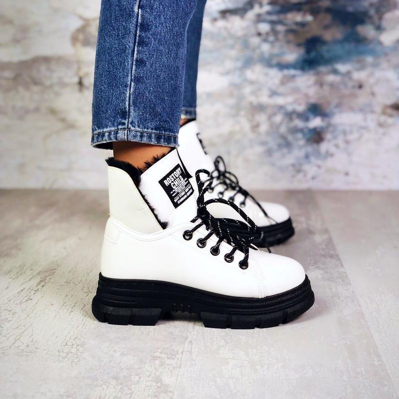 ❤ женские белые лаковые зимние ботинки сапоги сапожки  на меху ❤ - Фото 4