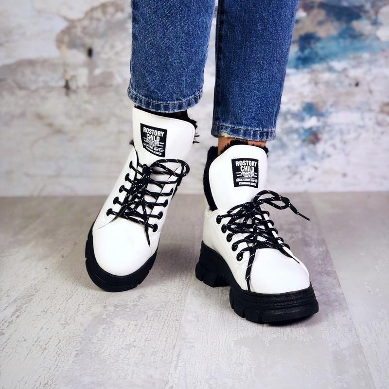 ❤ женские белые лаковые зимние ботинки сапоги сапожки  на меху ❤ - Фото 5