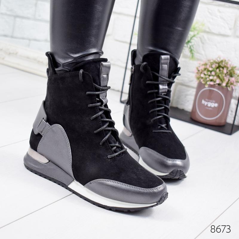 ❤невероятные женские черные демисезонные осенние ботинки сапог... - Фото 2