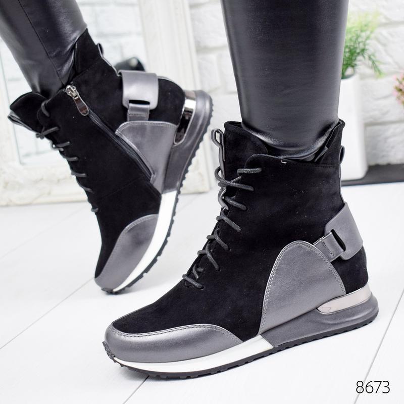 ❤невероятные женские черные демисезонные осенние ботинки сапог... - Фото 4