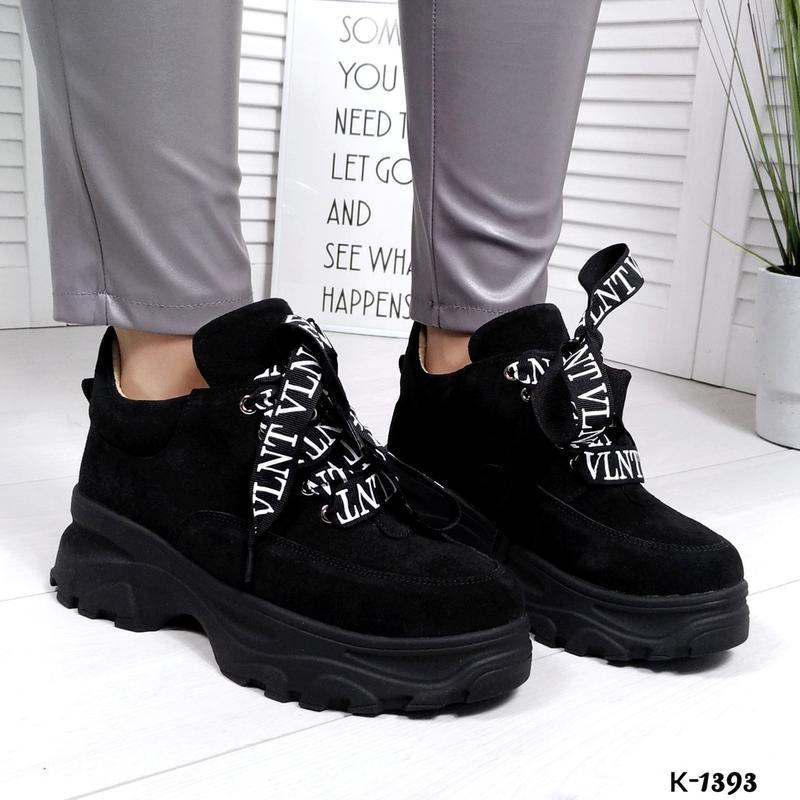 ❤ женские черные замшевые кроссовки (осень/весна/лето)  ❤ - Фото 2