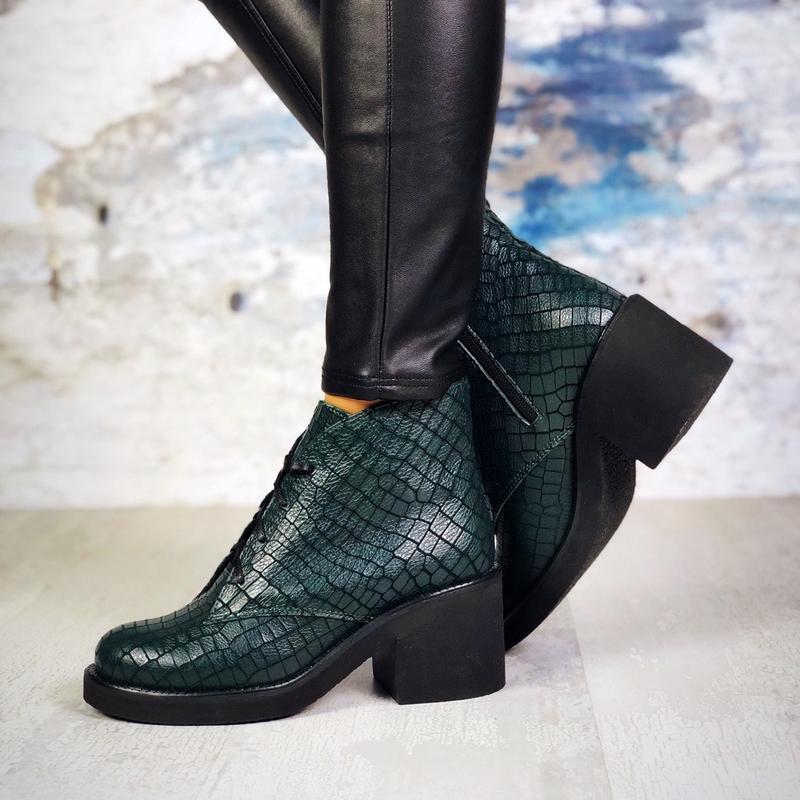 ❤ женские изумрудные  демисезонные осенние кожаные ботинки сап... - Фото 2