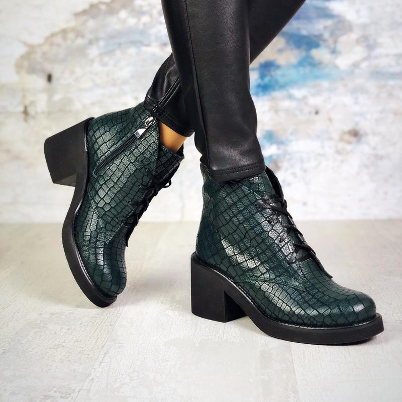 ❤ женские изумрудные  демисезонные осенние кожаные ботинки сап... - Фото 3