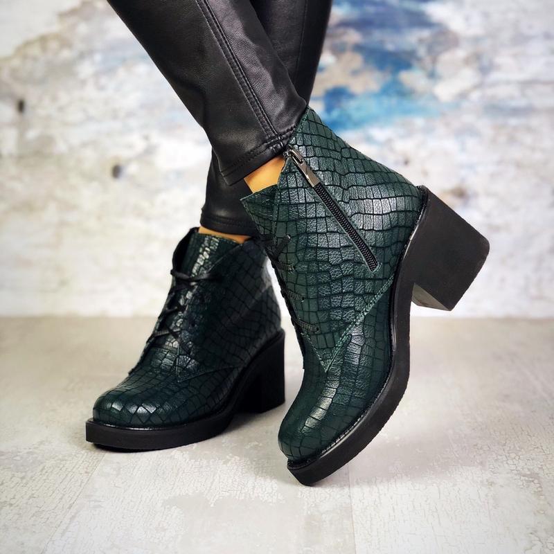 ❤ женские изумрудные  демисезонные осенние кожаные ботинки сап... - Фото 4