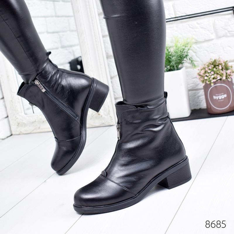 ❤ женские черные зимние кожаные ботинки сапоги валенки на наби...