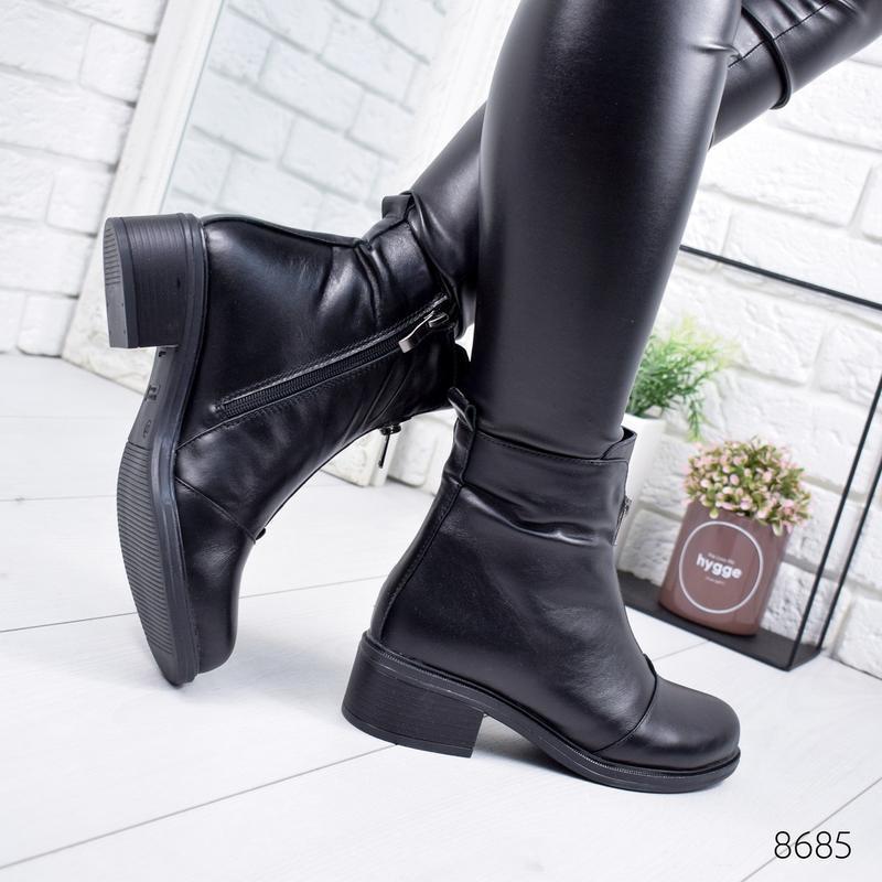 ❤ женские черные зимние кожаные ботинки сапоги валенки на наби... - Фото 2