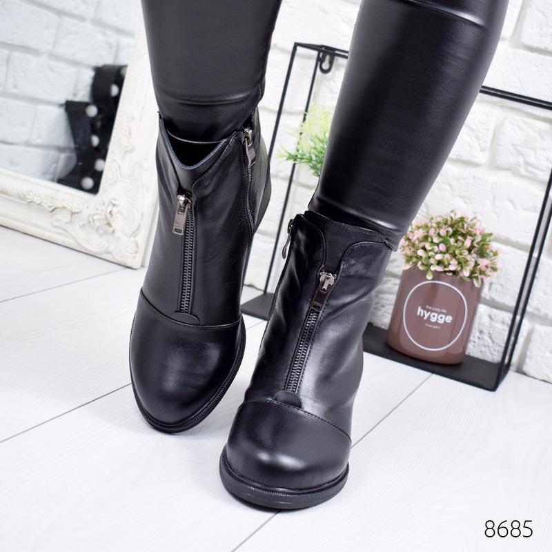 ❤ женские черные зимние кожаные ботинки сапоги валенки на наби... - Фото 5