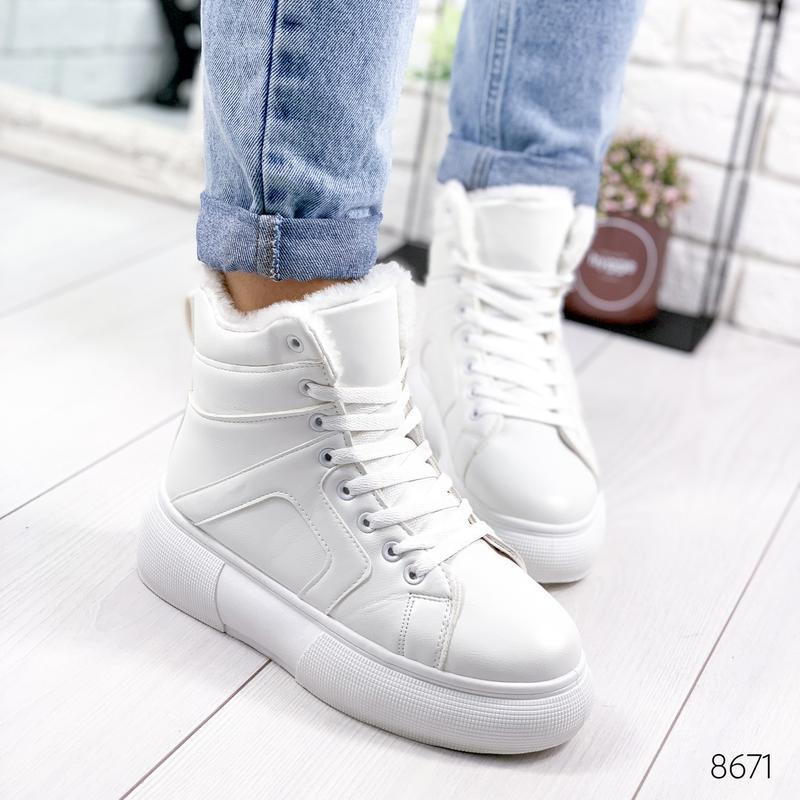 ❤  женские белые зимние кожаные ботинки сапоги валенки на меху ❤