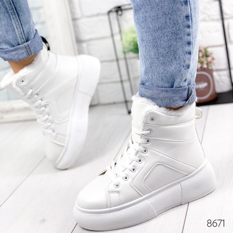 ❤  женские белые зимние кожаные ботинки сапоги валенки на меху ❤ - Фото 2