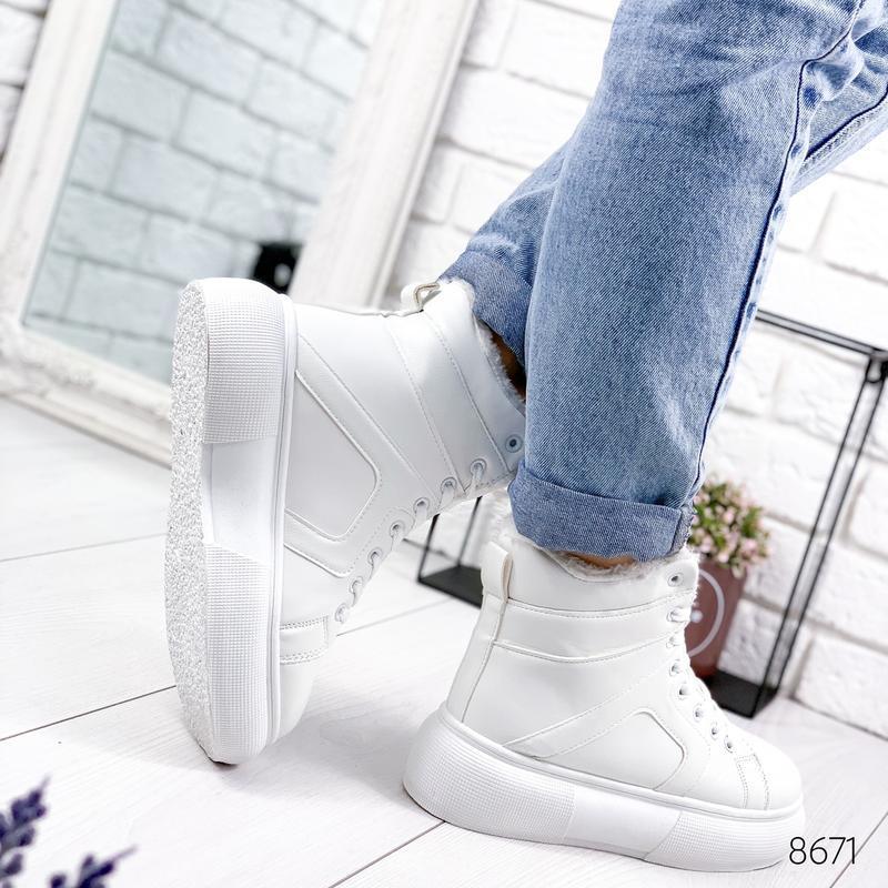 ❤  женские белые зимние кожаные ботинки сапоги валенки на меху ❤ - Фото 3