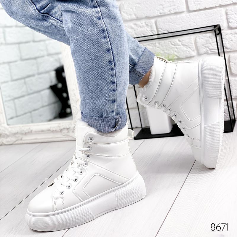 ❤  женские белые зимние кожаные ботинки сапоги валенки на меху ❤ - Фото 4
