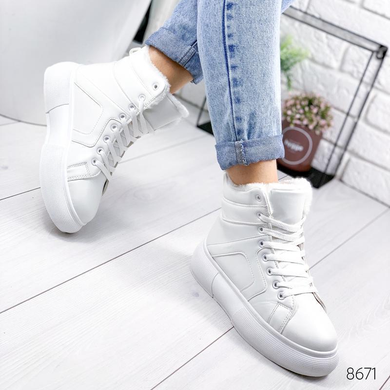 ❤  женские белые зимние кожаные ботинки сапоги валенки на меху ❤ - Фото 5