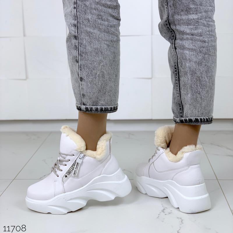 ❤невероятные женские белые зимние ботинки сапоги валенки на ме... - Фото 2