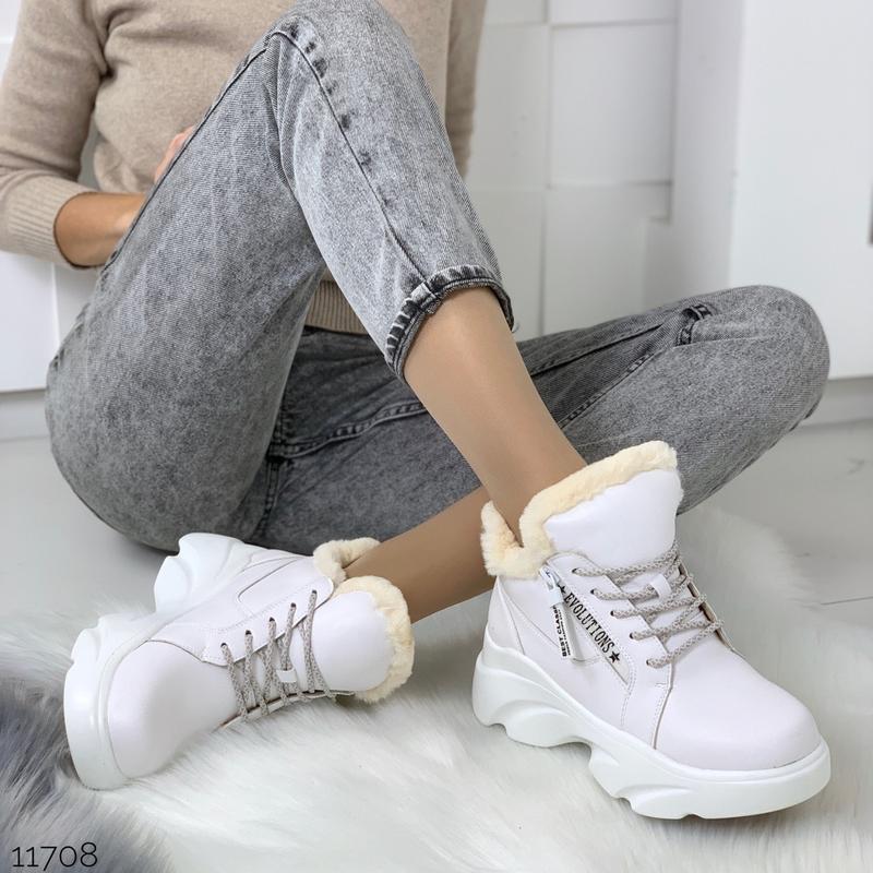 ❤невероятные женские белые зимние ботинки сапоги валенки на ме... - Фото 3