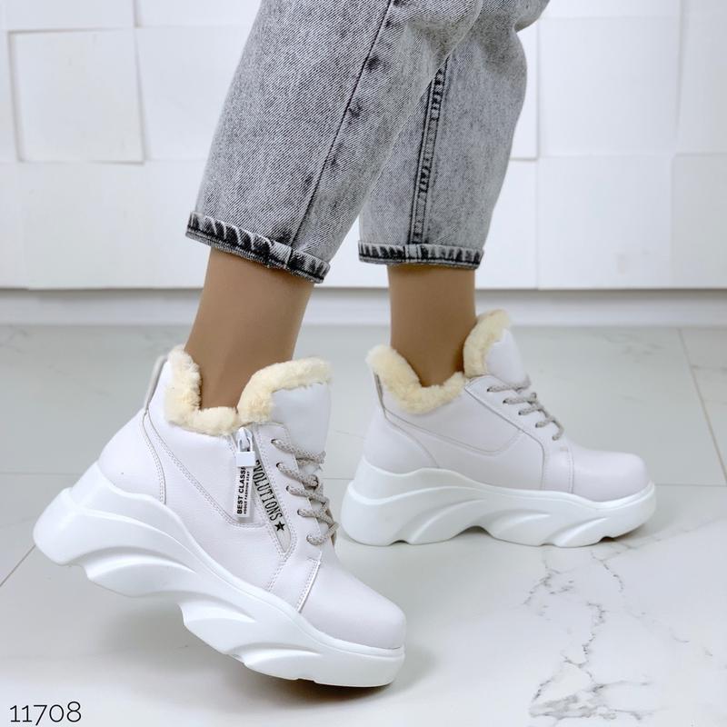 ❤невероятные женские белые зимние ботинки сапоги валенки на ме... - Фото 4