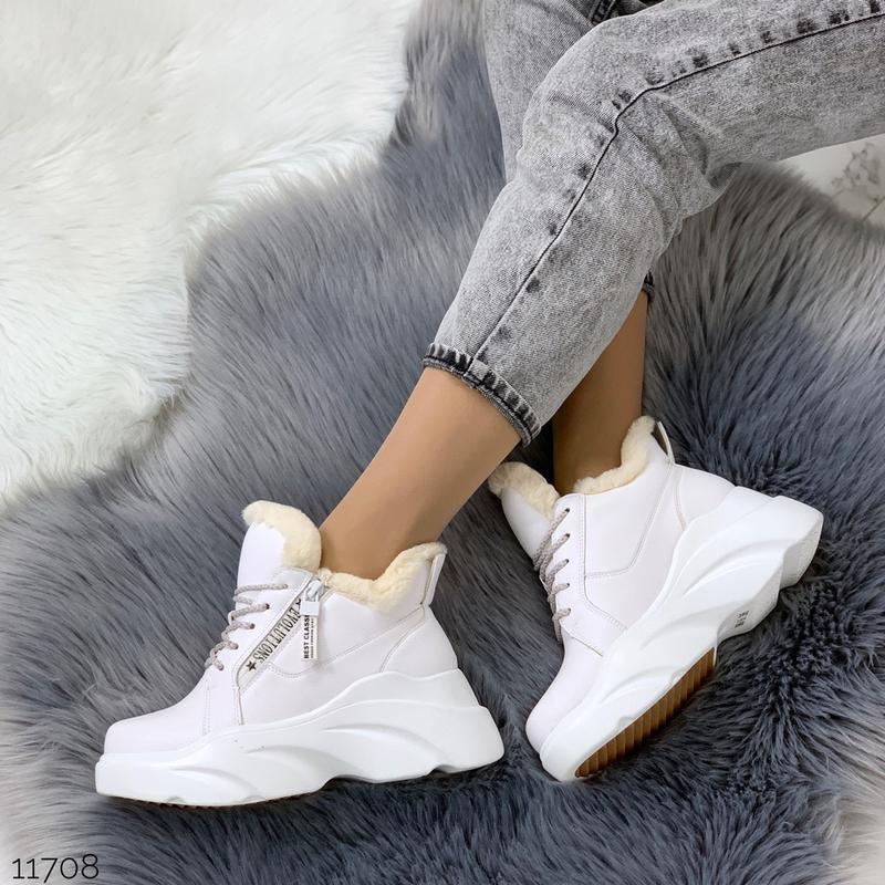 ❤невероятные женские белые зимние ботинки сапоги валенки на ме... - Фото 5